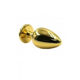 Золотистая алюминиевая анальная пробка с прозрачным кристаллом - 6 см.