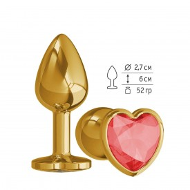 Золотистая анальная втулка с красным кристаллом-сердцем - 7 см.