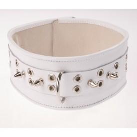 Белый кожаный ошейник с шипами и кольцами