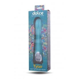 Голубой силиконовый вибратор Dolce Tyler - 16,5 см.